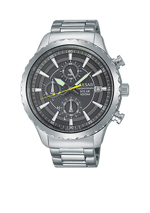Pulsar Mens Solar Chronograph Silver-Tone with Gray Dial