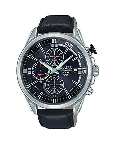 Pulsar Mens Solar Black Leather Chronograph Watch