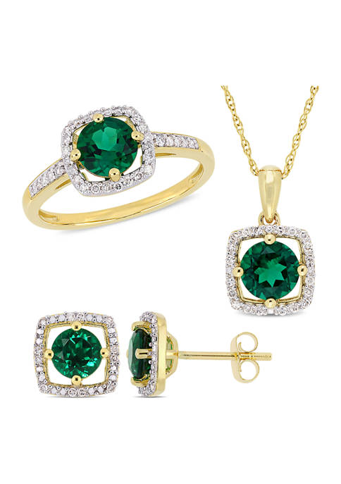 3-Piece Set Created Emerald and 1/3 ct. t.w. Diamond Square Halo Stud Earrings, Necklace and Ring Set in 10K Yellow Gold