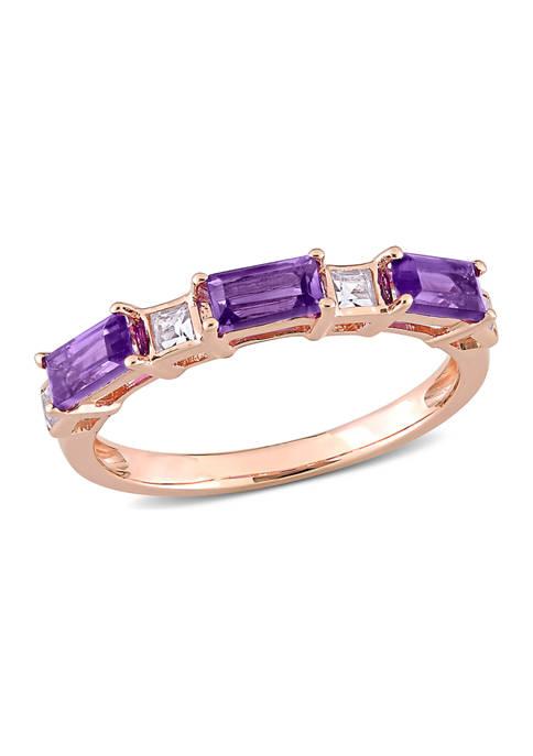 Amethyst and White Topaz Semi-Eternity Ring in 10k Rose Gold