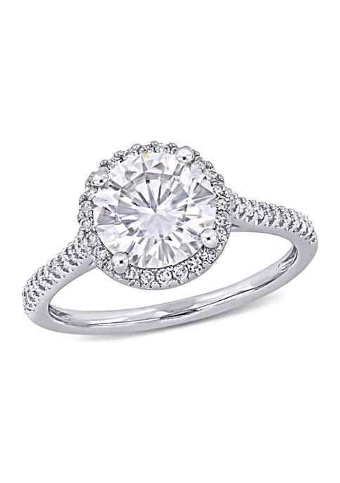 Lab Created 2 ct. t.w. Moissanite and 1/4 ct. t.w. Diamond Engagement Ring in 14k White Gold