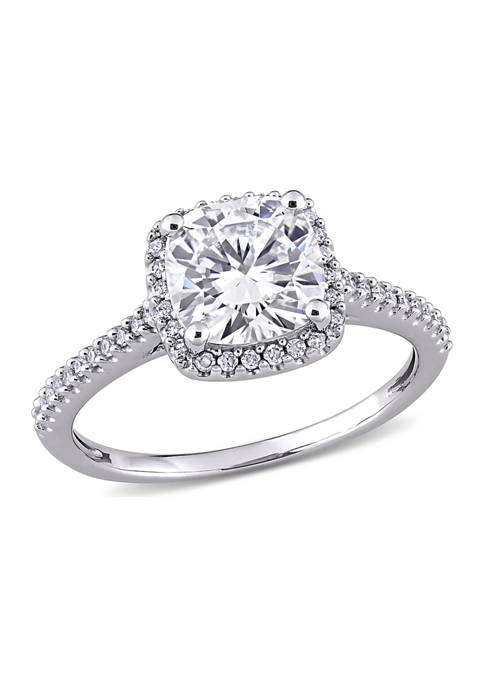 Lab Created 2 ct. t.w. Cushion-Cut Moissanite and 1/4 ct. t.w. Diamond Halo Engagement Ring in 14k White Gold