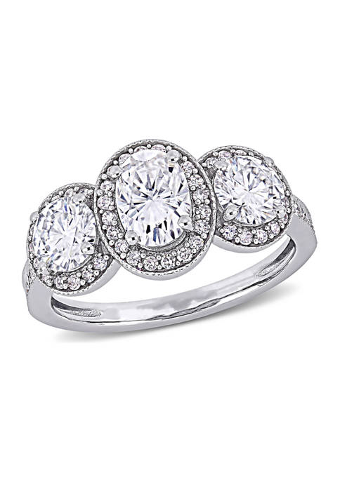 Lab Created 2 ct. t.w. Moissanite and 1/3 ct. t.w. Diamond 3-Stone Halo Engagement Ring in 14k White Gold