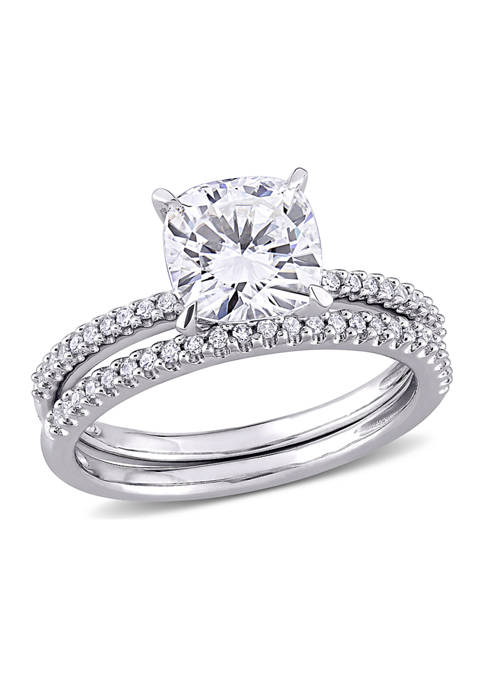 Lab Created 2 ct. t.w. Cushion-Cut Moissanite and 1/4 ct. t.w. Diamond Bridal Set in 14k White Gold