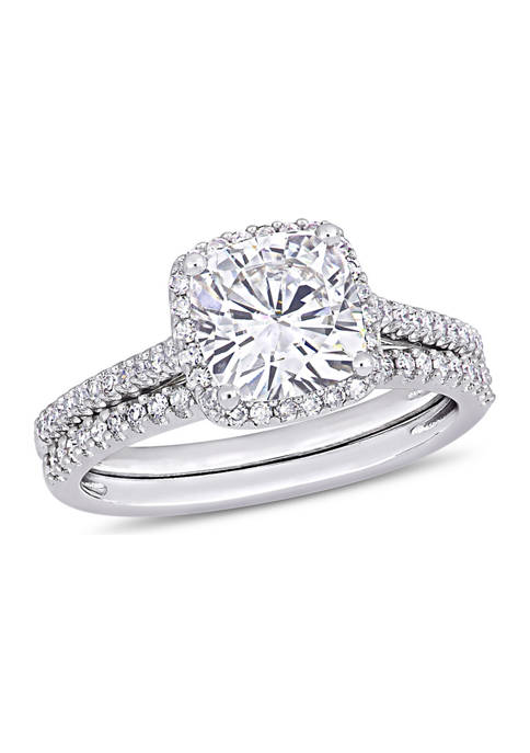 Lab Created 2 ct. t.w. Cushion-Cut Moissanite and 1/3 ct. t.w. Diamond Bridal Set in 14k White Gold