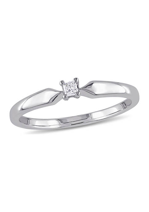 Diamond-Accent Princess-cut Solitaire Ring in Sterling Silver