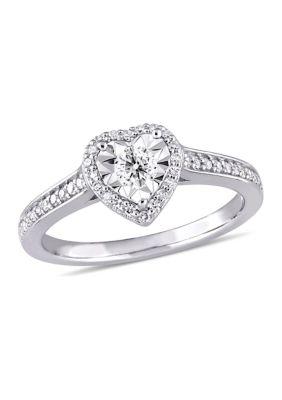 Belk Co. Women 1 3 Ct. T.W. Diamond Heart Engagement Ring In Sterling Silver