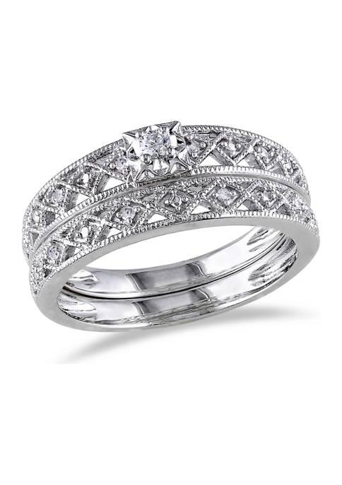 1/10 ct. t.w. Diamond Filigree Bridal Set in Sterling Silver