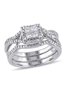 Belk Co. Women 1 2 Ct. T.W. Diamond Princess Cut Halo 3-Piece Bridal Set In Sterling Silver