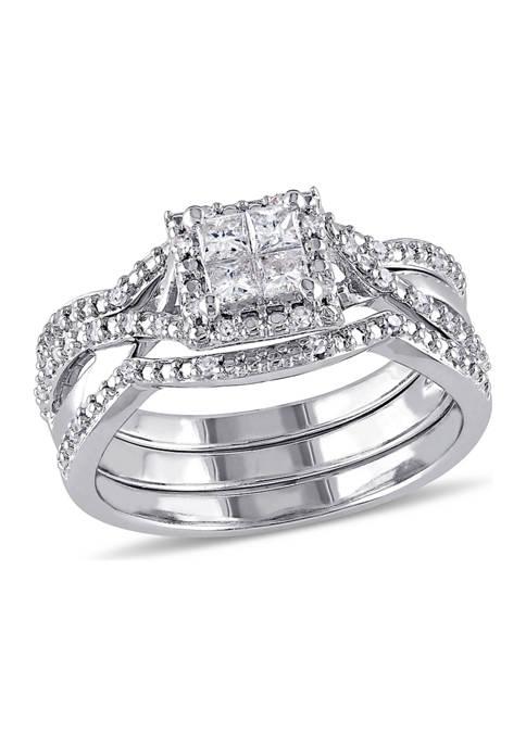 1/2 ct. t.w. Diamond Princess Cut Halo 3-Piece Bridal Set in Sterling Silver