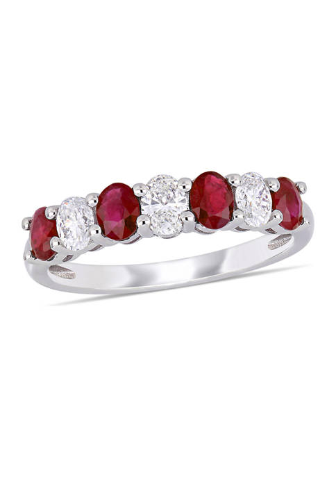 4/5 ct. t.w. Ruby and 1/2 ct. t.w. Diamond Oval Semi-Eternity Ring  in 14k White Gold