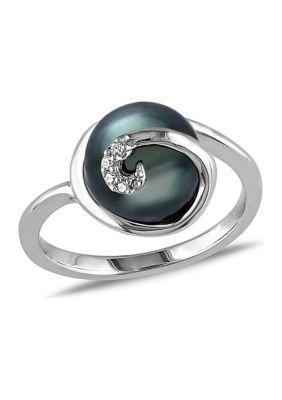 Belk Co. Women 9-9.5 Mm Tahitian Cultured Pearl Swirl Ring In Sterling Silver