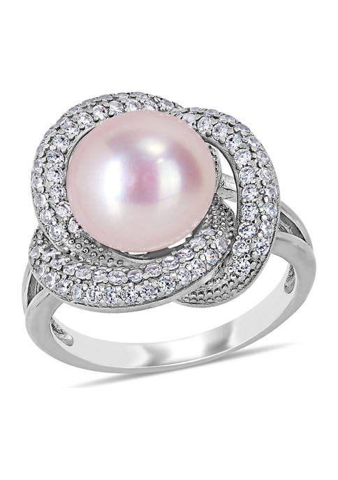 10.5 -11 MM Pink Cultured Freshwater Pearl and Cubic Zirconia Interlaced Halo Ring in Sterling Silver