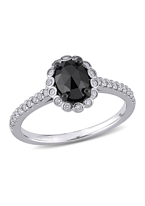 1.2 ct. t.w. Black and White Diamond Oval Halo Engagement Ring in 14k White Gold