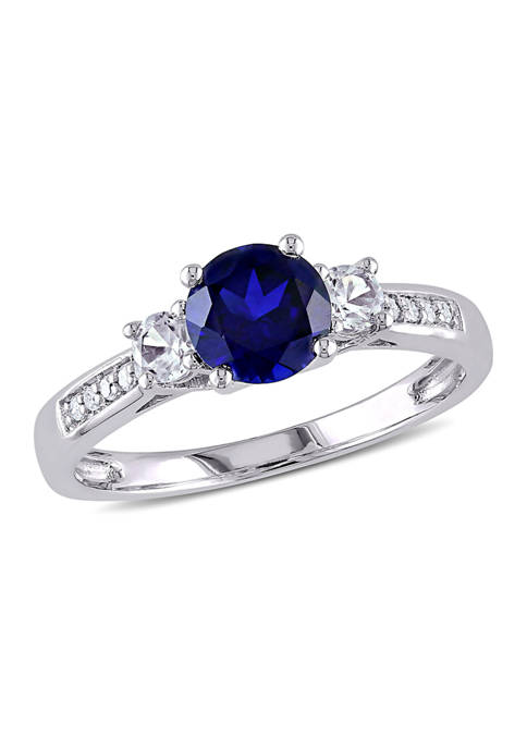Created Blue and White Sapphire Diamond 3-Stone Ring in 10k White Gold