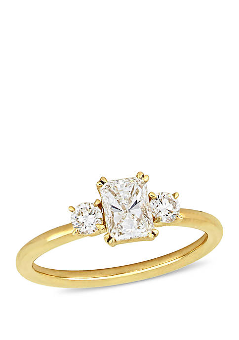 1 ct. t.w. Radiant and Round-Cut Diamond 3-Stone Engagement Ring in 14K Yellow Gold