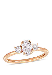 1 ct. t.w. Oval and Round-Cut Diamond 3-Stone Engagement Ring in 14K Rose Gold