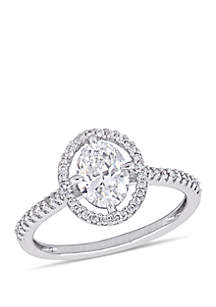 1.2 ct. t.w. Oval-Cut Diamond Halo Engagement Ring in 14K White Gold