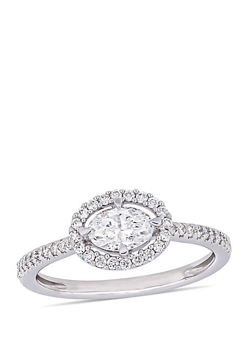 0.75 ct. t.w. Oval-Cut Diamond Floating Halo Engagement Ring in 14K White Gold