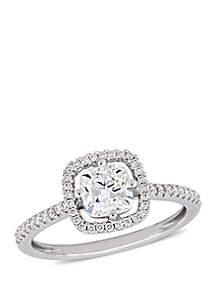 1.2 ct. t.w. Cushion Cut Diamond Floating Halo Engagement Ring in 14K White Gold