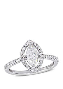 1 ct. t.w. Marquise-Cut Diamond Floating Halo Engagement Ring in 14K White Gold