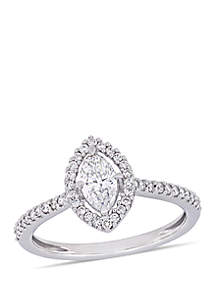 0.75 ct. t.w. Marquise-Cut Diamond Floating Halo Engagement Ring in 14K White Gold