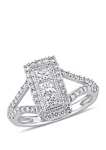 1 ct. t.w. Princess and Round-Cut Diamond Fashion Engagement Ring in 10K White Gold