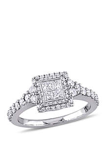 1 ct. t.w. Princess Quad and Round Diamond Halo Engagement Ring in 14K White Gold