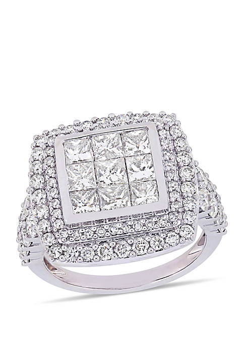 2.86 ct. t.w. Diamond Cluster Engagement Ring in 14K White Gold