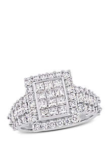 Belk & Co. 2 ct. t.w. Princess and Round-Cut Diamond Cluster Square Engagement Ring in 14K White Gold