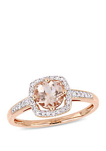 Belk & Co. 4/5 ct. t.w. Morganite and 1/7 ct. t.w. Diamond Floating Halo Ring in 10k Rose Gold