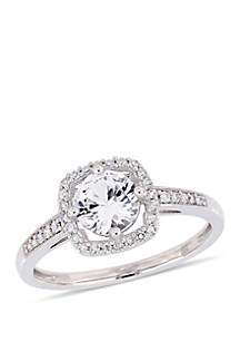 1 ct. t.w. Created White Sapphire and 1/7 ct. t.w. Diamond Floating Halo Ring in 10K White Gold