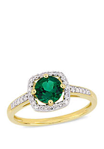 4/5 ct. t.w. Created Emerald and 1/7 ct. t.w. Diamond Floating Halo Ring in 10k Yellow Gold