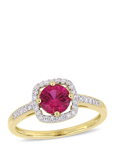 1 ct. t.w. Created Ruby and 1/7 ct. t.w. Diamond Floating Halo Ring in 10k Yellow Gold