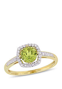 7/8 ct. t.w. Peridot and 1/7 ct. t.w. Diamond Floating Halo Ring in 10k Yellow Gold
