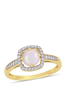 5/8 ct. t.w. Opal and 1/7 ct. t.w. Diamond Floating Halo Ring in 10k Yellow Gold