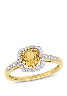 3/4 ct. t.w. Citrine and 1/7 ct. t.w. Diamond Floating Halo Ring in 10k Yellow Gold