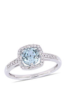 1 ct. t.w. Sky-Blue Topaz and 1/7 ct. tw. Diamond Floating Halo Ring in 10k White Gold