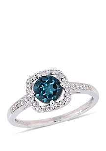 1 ct. t.w. London-Blue Topaz and 1/7 ct. t.w. Diamond Floating Halo Ring in 10k White Gold