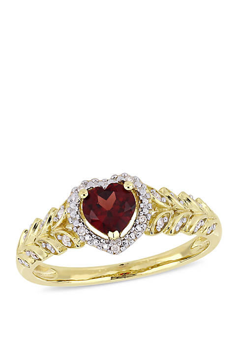 1/2 ct. t.w. Garnet and 0.06 ct. t.w. Diamond Halo Heart Ring in 10K Yellow Gold