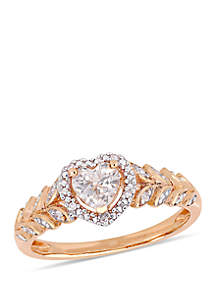 5/8 ct. t.w. Created White Sapphire and 0.06 ct. t.w. Diamond Halo Heart Ring in 10K Rose Gold