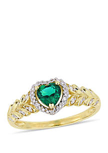 2/5 ct. t.w. Created Emerald and 0.06 ct. t.w. Diamond Halo Heart Ring in 10k Yellow Gold