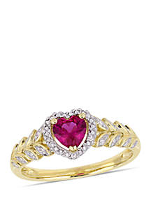 5/8 ct. t.w. Created Ruby and 0.06 ct. t.w. Diamond Halo Heart Ring in 10k Yellow Gold