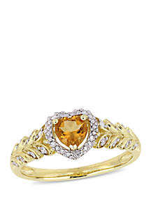 2/5 ct. t.w. Citrine and 0.06 ct. t.w. Diamond Halo Heart Ring in 10k Yellow Gold