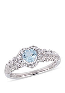 3/5 ct. t.w. Sky-Blue Topaz and 0.06 ct. t.w. Diamond Halo Heart Ring in 10k White Gold