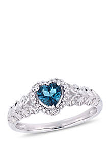 1/2 ct. t.w. London-Blue Topaz and 0.06 ct. t.w. Diamond Halo Heart Ring in 10k White Gold