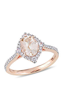 1 1/3 ct. t.w. Morganite, White Sapphire and 1/4 ct. t.w. Diamond Vintage Ring in 10k Rose Gold