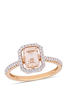 7/8 ct. t.w. Morganite and 1/4 ct. t.w. Diamond Floating Halo Ring in 14k Rose Gold