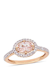 3/4 ct. t.w. Morganite and 1/4 ct. t.w. Diamond Floating Halo Ring in 14k Rose Gold