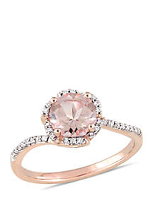 1 1/6 ct. t.w. Morganite and 1/10 ct. t.w. Diamond Halo Bypass Ring in 14k Rose Gold